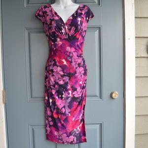 Purple Floral Side Runched Dress by Ralph Lauren